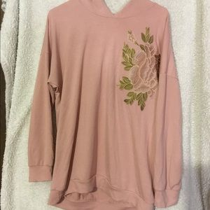 Embroidered pink sweater